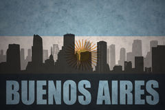 Abstract silhouette of the city with text Buenos Aires at the vintage argentinean flag Royalty Free Stock Photos