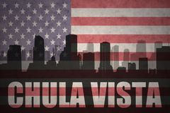 Abstract silhouette of the city with text Chula Vista at the vintage american flag. Background Stock Photography