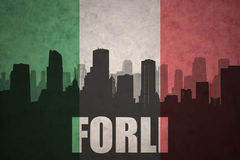 Abstract silhouette of the city with text Forli at the vintage italian flag Royalty Free Stock Photos