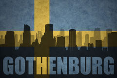 Abstract silhouette of the city with text Gothenburg at the vintage swedish flag Stock Photography
