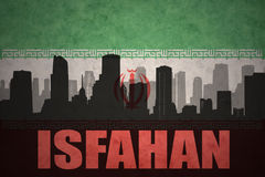 Abstract silhouette of the city with text Isfahan at the vintage iranian flag. Background Stock Photo