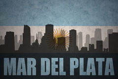 Abstract silhouette of the city with text Mar del Plata at the vintage argentinean flag Stock Images