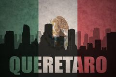 Abstract silhouette of the city with text Queretaro at the vintage mexican flag. Background Stock Photo
