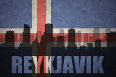 Abstract silhouette of the city with text Reykjavik at the vintage icelandic flag Stock Image