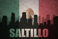 Abstract silhouette of the city with text Saltillo at the vintage mexican flag. Background Stock Image