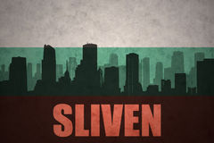 Abstract silhouette of the city with text Sliven at the vintage bulgarian flag Royalty Free Stock Image