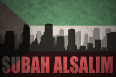 abstract silhouette of the city with text Subah Alsalim at the vintage kuwait flag vector illustration