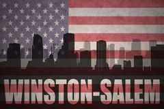 Abstract silhouette of the city with text Winston-Salem at the vintage american flag Royalty Free Stock Photo