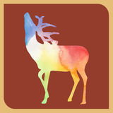 Abstract silhouette colorful deer on red brown background vector animal illustration  home decoration design   poster   publishing Royalty Free Stock Image