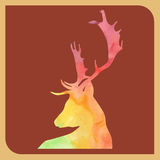 Abstract silhouette colorful deer on red brown background vector animal illustration  home decoration design   poster   publishing Stock Photo
