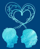 Abstract silhouette of couple heads Royalty Free Stock Image
