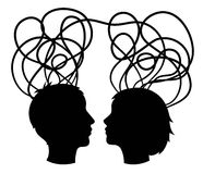 Abstract silhouette of couple heads, think concept,  Royalty Free Stock Photos
