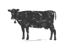 Abstract silhouette of cow Stock Photo
