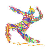 Abstract silhouette of dancer in hip hop. Vector silhouette of dancer in hip hop on white background Stock Photo