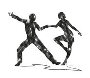Abstract silhouette of a dancers Stock Photography