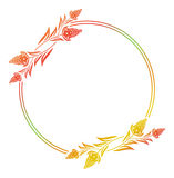Abstract silhouette floral frame. Beautiful floral round frame with gradient fill. Color silhouette frame for advertisements, wedding and other invitations or Royalty Free Stock Photography
