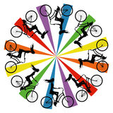 Abstract silhouette girls on bike Royalty Free Stock Photo