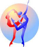 Abstract silhouette of gymnasts. With different colors Stock Image