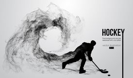 Abstract silhouette of a hockey player on white background from particles. Hockey player hits the puck. Vector. Abstract silhouette of a hockey player on white royalty free illustration