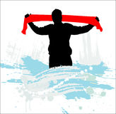 Abstract silhouette of a man. Sport Fan Stock Image
