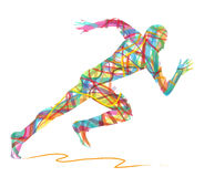 Abstract silhouette of man running. On white background Stock Image