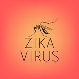 Abstract silhouette of a mosquito with text virus Zika. On red background. Carrier of the Zika virus. Line icon of virus Zika Royalty Free Stock Images