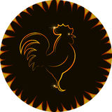 Abstract silhouette of a rooster in a fiery frame. New year Royalty Free Stock Images