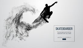 Abstract silhouette of a skateboarder on the white background. Skateboarder jumps and performs the trick. Vector stock illustration