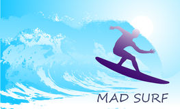 Abstract silhouette of the surfer at the ocean Royalty Free Stock Photography