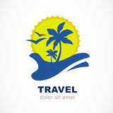 Abstract silhouettes of palm tree and sun on hand. Concept for t. Ravel agency, tropical resort, beach hotel, spa. Summer vacation symbol. Vector logo design Stock Photos