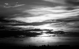 Abstract Silhouettes Sunset in the City Royalty Free Stock Images