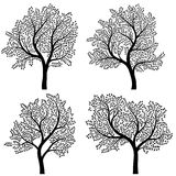Abstract silhouettes of trees with leaves. Royalty Free Stock Photo