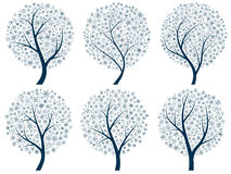 Abstract silhouettes of trees with snowflakes. Royalty Free Stock Photography