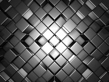 Abstract Silver Alluminium Cubes Wall Background. 3d Render Illustration Stock Image