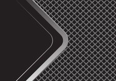 Abstract silver arrow curve with black blank space overlap on grey metal square mesh design modern futuristic background vector. Illustration royalty free illustration