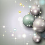 Abstract silver background with Christmas baubles. And stars Royalty Free Stock Photography