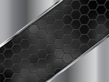 Abstract silver and black background with hexagons. Vector illustration. EPS10 royalty free illustration