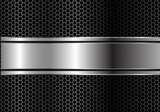 Abstract silver black line banner overlap on metal hexagon mesh design modern luxury futuristic background vector. Illustration Royalty Free Stock Image