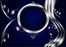 Abstract Silver and Blue Floral Background. A silver floral design with room for text on a royal blue background. The additional format is saved as an EPS8 file royalty free illustration