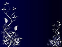 Abstract Silver and Blue Floral Background Royalty Free Stock Images