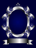 Abstract Silver and Blue Floral Background. A silver floral design with room for text on a royal blue background. The additional format is an EPS vector which Stock Photography