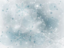 Abstract silver Christmas background with white snowflakes Royalty Free Stock Photography