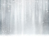 Abstract silver Christmas, winter background. With light effects, stars Royalty Free Stock Photo