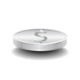 Abstract Silver dollar coin. On white background Royalty Free Stock Photography