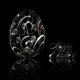 Abstract silver easter egg on black background Stock Photo