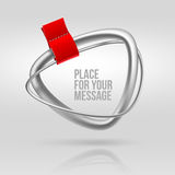 Abstract silver frame with red label Stock Photography