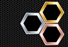 Abstract silver gold copper black hexagon overlap on dark gray mesh design modern luxury futuristic background texture vector royalty free illustration