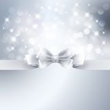 Abstract silver light background with white ribbon Royalty Free Stock Image