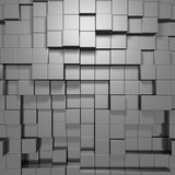 Abstract Silver Metal Cubes Background. 3d Render Illustration Stock Photos