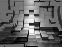 Abstract Silver Metal Cubes Background. 3d Render Illustration Royalty Free Stock Images